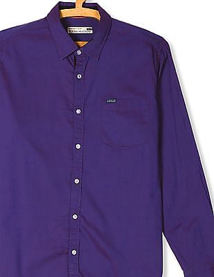 Flying Machine Purple Spread Collar Two Tone Shirt