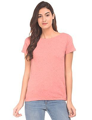 Cherokee Speckled Knit Round Neck T-Shirt