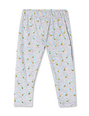 Donuts Girls Elasticized Waist Honeybee Print Leggings