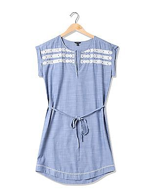 Nautica Chambray Woven Dress With Embroidery