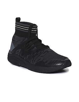 Flying Machine Black High Top Knit Sneakers
