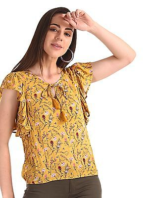 SUGR Yellow Flutter Sleeve Floral Print Top