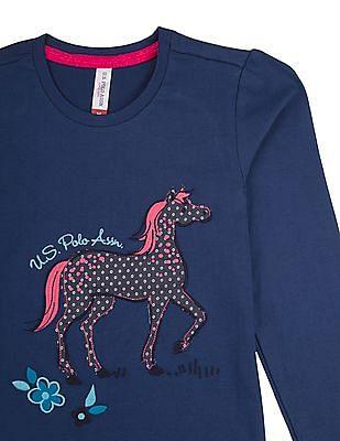 U.S. Polo Assn. Kids Girls Appliqued Front T-Shirt