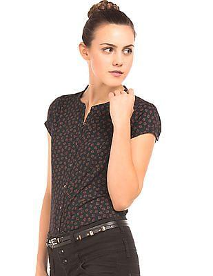 Arrow Woman Printed Mandarin Collar Shirt
