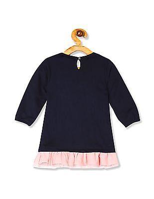 Donuts Blue Girls Embellished A-Line Dress