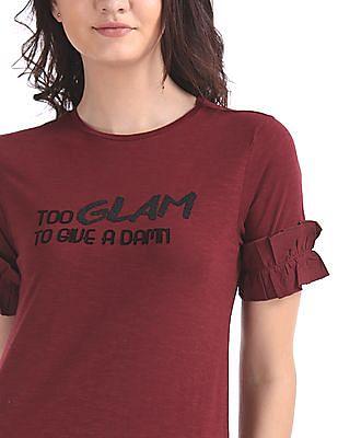 Flying Machine Women Ruffle Trim Knit Top