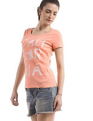 Flying Machine Women Regular Fit Round Neck T-Shirt