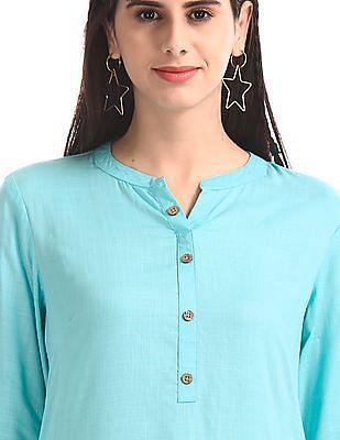 Karigari Green Notched Collar Printed Hem Kurta
