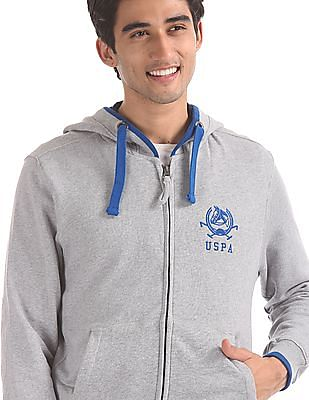 U.S. Polo Assn. Grey Hooded Heathered Sweatshirt