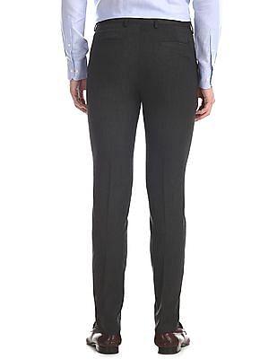 Arrow Newyork Grey Super Slim Fit Solid Trousers