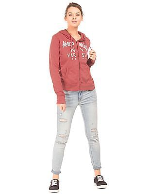Aeropostale Appliqued Zip Up Sweatshirt