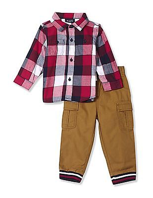 The Children's Place Assorted Baby Boys Long Sleeve Check Print Twill Button Down Shirt And Woven Pull On Cargo Pants Set