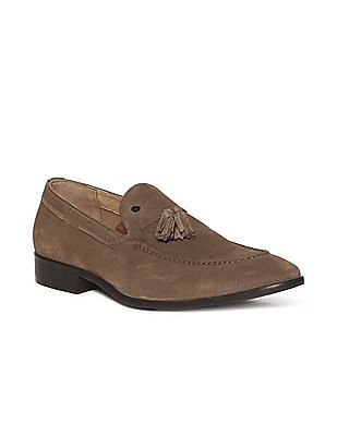 Arrow Brown Tasselled Suede Leather Slip On Shoes