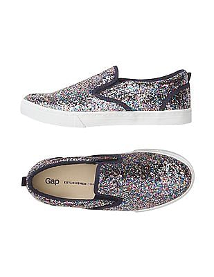 GAP Girls Multi Colour Glitter Slip On Sneakers