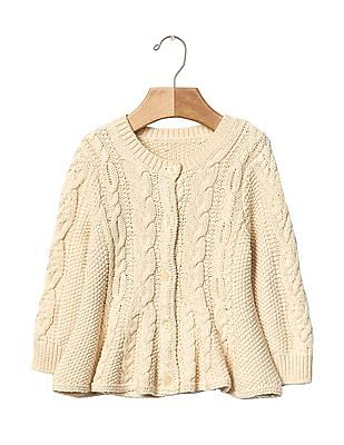 GAP Baby Cable Knit Peplum Cardigan