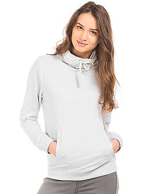 Flying Machine Women Solid Turtle Neck Sweatshirt