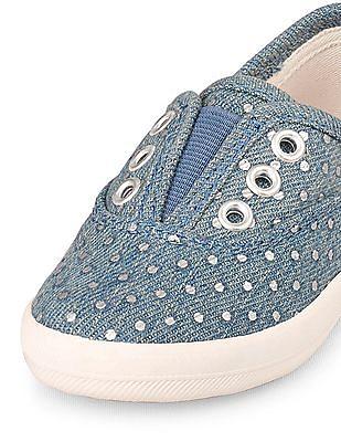 The Children's Place Toddler Girl Blue Foil Dot Print Denim Low-Rise Twirl Sneaker