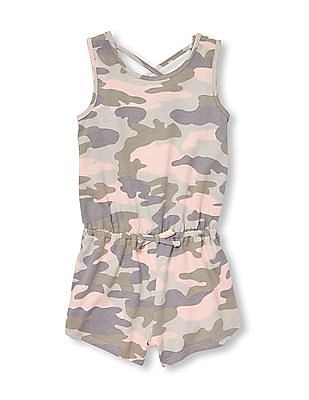 The Children's Place Baby And Toddler Girl Sleeveless Camo Cut-Out Back Knit Romper