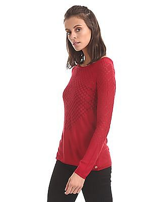 U.S. Polo Assn. Women Regular fit Patterned Knit Top
