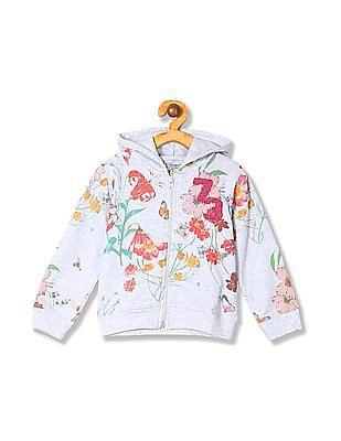 Cherokee Girls Hooded Floral Print Sweatshirt