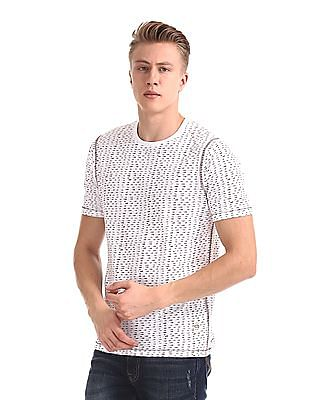 Cherokee White Printed Crew Neck T-Shirt