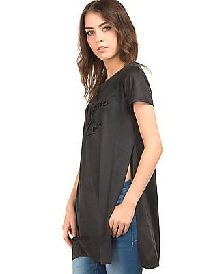 Elle High Slit Suedette Tunic