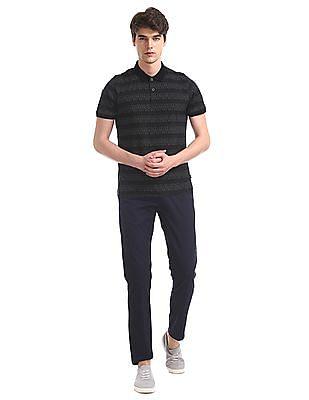 Flying Machine Black Printed Mercerized Cotton Polo Shirt