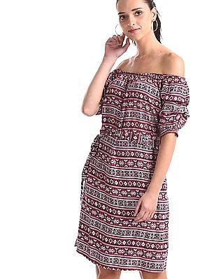 Cherokee Pink Printed Off Shoulder Dress