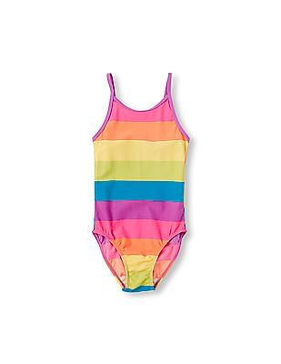 The Children's Place Girls Rainbow Stripe Print One-Piece Swimsuit