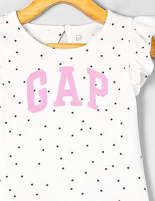 GAP Toddler Girl Ruffle Trim Printed Top