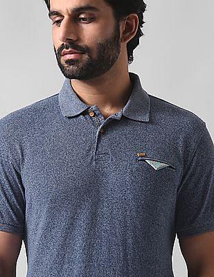 True Blue Slim Fit Heathered Polo Shirt