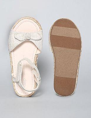 GAP Baby Beige Strappy Bow Jute Sandals