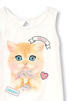 The Children's Place Toddler Girl White Matchables Sleeveless Glitter Graphic Cut Out Back Tank Top