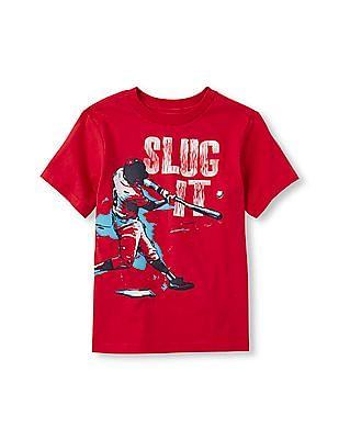 The Children's Place Boys Short Sleeve 'Slug It' Baseball Player Graphic Tee