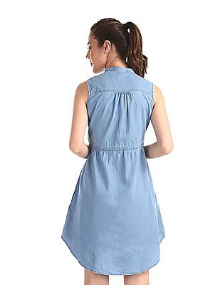 Cherokee Blue Embroidered Shoulder Sleeveless Dress