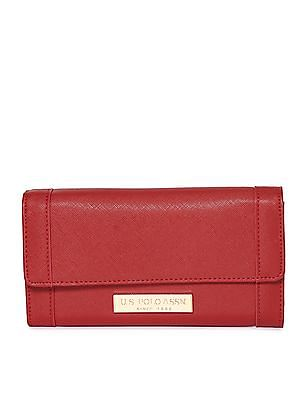 U.S. Polo Assn. Women Textured Tri Fold Wallet