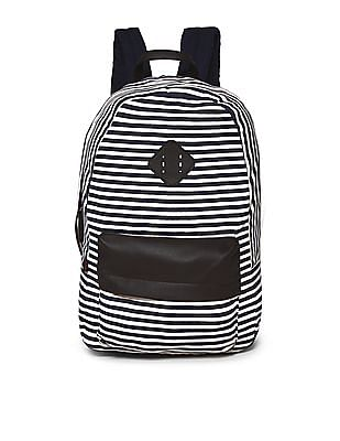 SUGR Navy And White Striped Canvas Backpack