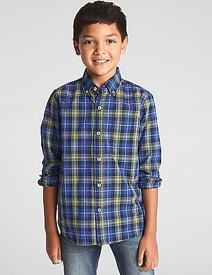 GAP Boys Poplin Plaid Long Sleeve Shirt