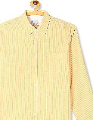 Flying Machine Yellow Patch Pocket Check Shirt