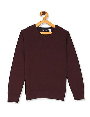 The Children's Place Red Boys V-Neck Solid Sweater