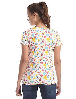 SUGR White Round Neck Printed T-Shirt