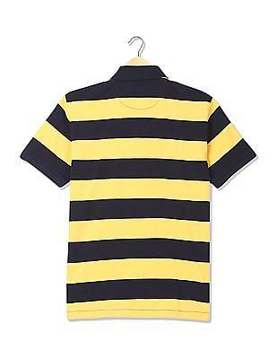 Arrow Striped Pique Polo Shirt