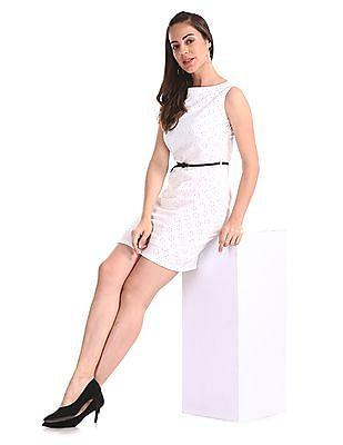 Elle Studio White Printed Shift Dress