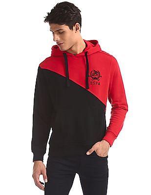U.S. Polo Assn. Red Hooded Colour Block Sweatshirt