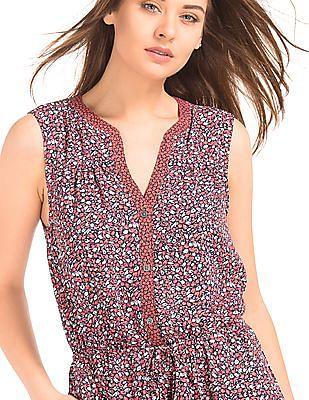 GAP Women Pink Mix Print Sleeveless Shirt Dress