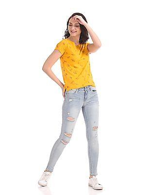 Flying Machine Women Short Sleeve Printed T-Shirt