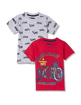 Cherokee Boys Crew Neck Printed T-Shirt - Pack Of 2