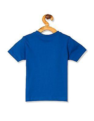 Cherokee Blue Boys Crew Neck Printed T-Shirt