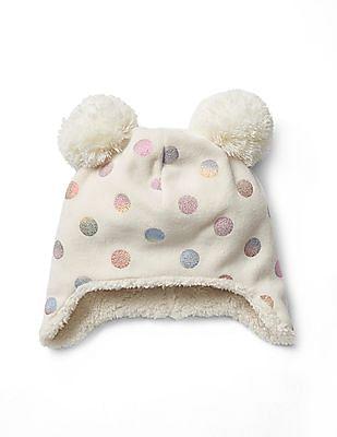 GAP Baby White Pro Fleece Pom Pom Hat