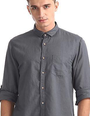 Cherokee Grey Roll Up Sleeve Cotton Linen Shirt